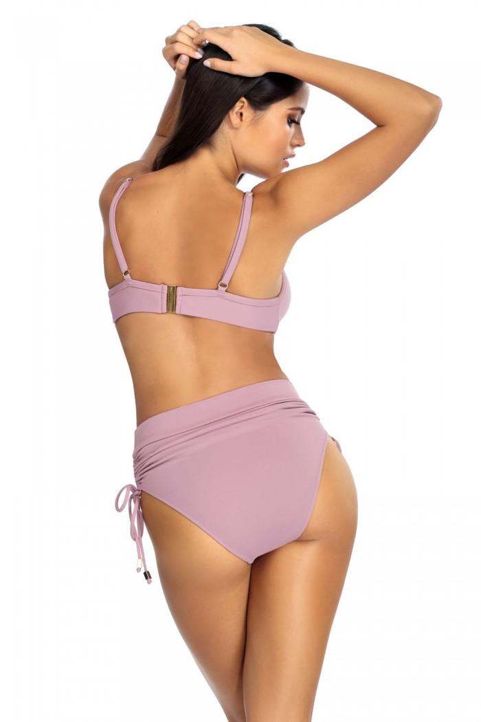 Costum de baie 2 piese  roz pudrat  L2355