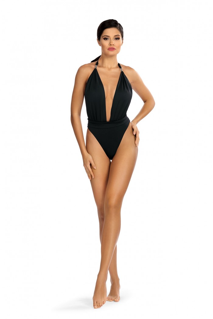 Costum de baie intreg negru L4397